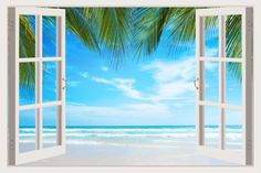 Removable Vinyl Wall Mural Stickers By Mi Alma Window Frame Design – Wide Variety Of Realistic Views – Easy To Apply Peel & Stick – Incomparably Durable Wall Decals Inch, Palm beach) 3d Wall, Wall Art, Wall Decor, Removable Wall Murals, Beach Scenery, Wall Decals For Bedroom, House By The Sea, Ocean Sunset, Window Styles