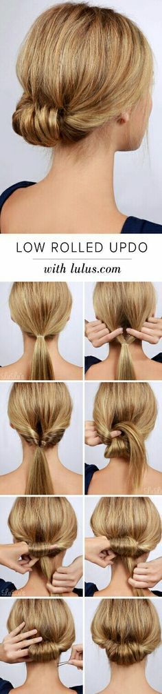 """Best Hairstyles for Summer - Low Rolled Updo Hair Tutorial - Easy and Cute Hair ., Easy hairstyles, """" Best Hairstyles for Summer - Low Rolled Updo Hair Tutorial - Easy and Cute Hair . - Source by Pretty Hairstyles, Easy Hairstyles, Hairstyle Ideas, Wedding Hairstyles, Hair Ideas, Hairdos, Hairstyles 2018, Casual Hairstyles, Latest Hairstyles"""