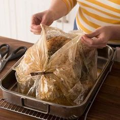 How to Cook a Turkey in an Oven Bag: Turkey that has been made in a roasting bag. Learn how to cook a turkey in an oven bag, and a perfectly browned, juicy Thanksgiving turkey could be on your table this year—finally! Cooking A Frozen Turkey, Turkey Cooking Times, Baking A Turkey, Turkey Roasting Bag, Roasting Bags, Herb Roasted Turkey, Baked Turkey, Cook Turkey In Oven, How To Cook Turkey