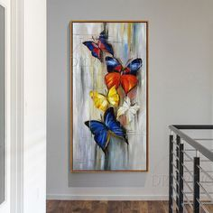 Oil painting of abstract butterflies hand painted long size on canvas handmade small abstract butterfly insects - Art Painting Butterfly Painting, Butterfly Art, Flower Art, Butterflies, Canvas Artwork, Oil Painting On Canvas, Oil Paintings, Acrylic Art, Painting Inspiration