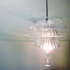Dollar Store ~ chandelier from plastic service ware made to look like leaded glass.  It looks great!