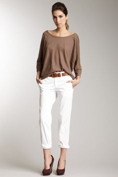 white rolled boyfriend jean, taupe slouchy sweater, whiskey pumps and belt