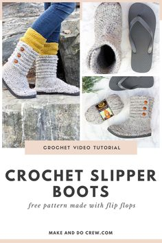 These crochet sweater boots with flip flop soles from Make & Do Crew will be your favorite pair of winter footwear that you can use indoor or outdoor! With the yarn stitched right into the flip flop soles, these slipper boots are durable enough for running errands, yet comfy enough for lounging around the house. Customize yours with different colors of yarn or button flair. The free pattern also includes a step-by-step video tutorial. #makeanddocrew Crochet Slipper Boots, Crochet Slipper Pattern, Crochet Sandals, Crochet Slippers, Slipper Socks, Modern Crochet Patterns, Knitting Patterns, Make And Do Crew, Crochet Buttons