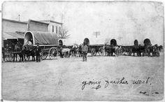 """Covered wagons in Hoxie, Kansas   This photograph shows a train of covered wagons """"going further west."""" Photo possibly taken in 1907 or 1908, in Hoxie, Kansas, Main street.  Date: Between 1900 and 1915"""