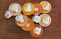 Jogo de xícaras laranja
