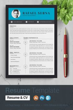 Clean & Modern Resume/cvTemplate to help you land that great job. Cv Template, Resume Templates, Website Template, Chronological Resume Template, College Names, Modern Resume, Resume Cv, Page Design, Language