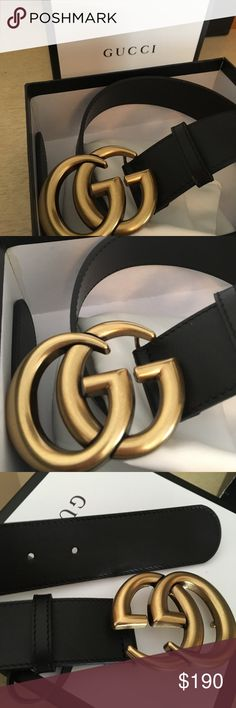 Authentic Gucci belt  Selling a brand new authentic black leather belt . 1.5inches thick win gold hardware. Comes with the box and garment bag AND RECEIPT! It's guaranteed authentic with receipt . No low ball offers Gucci Accessories Belts