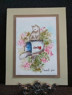 Art Impressions Watercolor: handmade card. Mailbox, cat, flowers, foliage