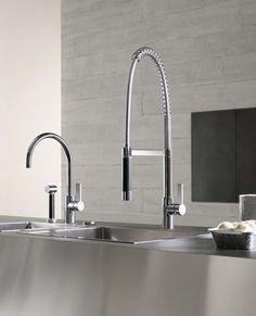 Tara faucet by Dornbracht Kitchen Fixtures, Bathroom Fixtures, Kitchen Sinks, Bathrooms, Dornbracht Tara, Bath Showroom, Modern Kitchen Design, Modern Design, Rustic Industrial