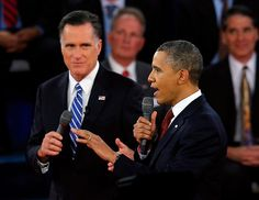 95 - 10/16/12 - Republican presidential nominee Mitt Romney and President Barack Obama both speak during the second U.S. presidential campaign debate in Hempstead, N.Y. on Oct. 16, 2012. (REUTERS/Brian Snyder)