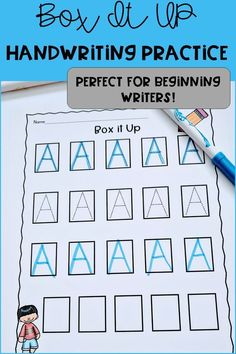 Looking for a way to begin handwriting with your preschool or kindergarten students These Box It Up Handwriting Worksheets are perfect for you! The box give kids more concrete visual cues which leads is part of Preschool writing - Kindergarten Handwriting, Handwriting Activities, Handwriting Alphabet, Preschool Writing, Preschool Letters, Letter Activities, Handwriting Practice, Learning Letters, Preschool Learning