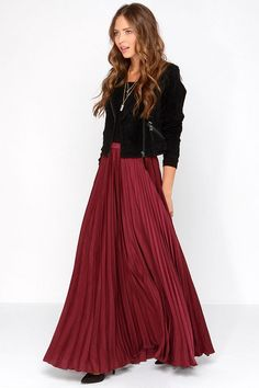 Modest pleated burgundy oxblood maxi skirts for purchase Mode-sty
