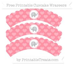 Free Salmon Pink Heart Pattern  Baby Elephant Scalloped Cupcake Wrappers