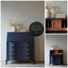 furniture makeover Have an old secretary desk laying around See how you can transform your desk into a stunning showstopper using Navy paint and Copper metallic! Desk Makeover, Refurbished Furniture, Painted Furniture, Furniture Rehab, Furniture Inspiration, Furniture Makeover, Cool Furniture, Furniture Design, Furniture Layout