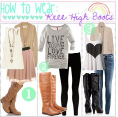 """""""& 17:,, HTW: Knee High Boots!"""" by xoxo-tipgirls ❤ liked on Polyvore"""