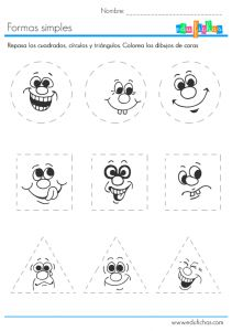 ficha-infantil-de-las-formas Preschool Learning Activities, English Activities, Preschool Worksheets, Kindergarten Math, Kids Learning, Pre Writing, Writing Skills, Handwriting Practice Worksheets, Shape Games