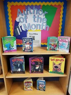 Rainbow In A Jar Science Experiment - Primary Playground Author of the month. This is a great idea for a book display. School Library Decor, School Library Displays, Middle School Libraries, Library Themes, Elementary School Library, Library Activities, Classroom Libraries, Elementary Library Decorations, Library Ideas