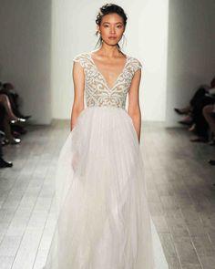Blush by Hayley Paige Fall 2017 Wedding Dress Collection | Martha Stewart Weddings – Short-sleeve V-neck wedding dress