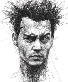 Johnny Depp portrait done in scribbles by Vince Low via Oddity Central