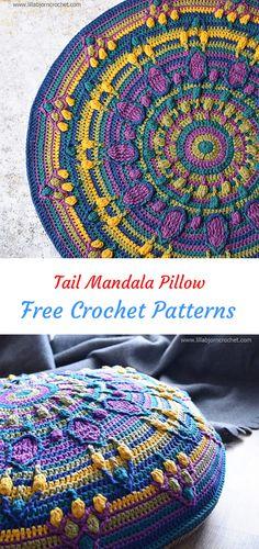Tail Mandala Pillow Free Crochet Pattern #crochet #crafts #homedecor #handmade #pillow #style