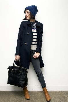 bonnet american vintage, manteau Leon & Harper, Pull Sonia Rykiel, jean Joe's, sac Laurence Doligé, boots APC