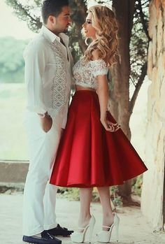 A-line Red Homecoming Dresses,2 Piece homecoming gowns,lace homecoming dresses,sexy homecoming dresses