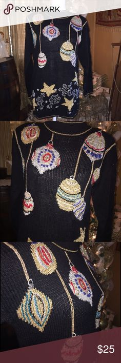 Tacky Christmas sweater. Ugly sweater  Vintage Dana Scott. Complete with shoulder pads. Size small. Great condition  Ugly/Tacky Christmas party sweater Vintage Sweaters Crew & Scoop Necks