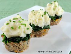 Turkey Meatloaf Muffins Topped With Spinach And Roasted Garlic Mashed Potatoes | For The Love Of Cooking