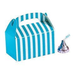 Mini Turquoise Striped Treat Boxes - OrientalTrading.com