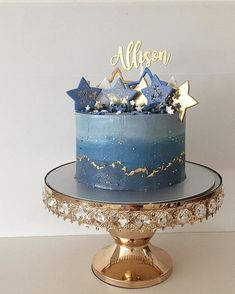 A star/galaxy cake matching with the macarons for Allison's birthday! Inside was my banana dark chocolate ganache. 🌟Gorgeous Cake topper by… Gorgeous Cakes, Pretty Cakes, Cute Cakes, Amazing Cakes, Pastel Cakes, Galaxy Cake, Star Cakes, Mooncake, Drip Cakes
