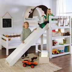 Faircloth Single L-Shaped Bunk Bed Zoomie Kids Colour: White Kid Beds, Bunk Beds, Childrens Beds, Bedroom Furniture, Toddler Bed, Cabin, Home Decor, Products, Beds For Children