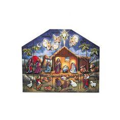Wooden Nativity Advent Calendar - http://www.christmasshack.com/advent-calendars/wooden-nativity-advent-calendar/