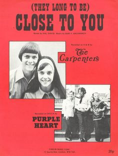 CLOSE TO YOU - THE CARPENTERS - 1963 - BURT BACHARACH - ORIG. MUSIKNOTE | eBay