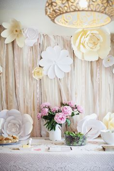 Big flowers on the edge of lace backdrop