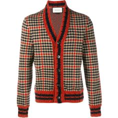 GUCCI Check Wool Cashmere-Blend Cardigan ($770) ❤ liked on Polyvore featuring…
