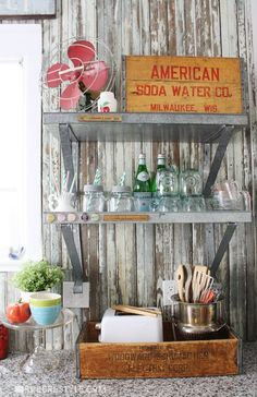 Vintage Farmhouse Kitchen Reveal by Robb Restyle with open shelves.