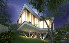 Two factors contributed to the unique form of this elevated house in Bratislava, Slovakia. The plot of land was nearly impossible to build on, with steep hills and chestnut trees that the owner did. Bratislava, Amazing Architecture, Villa, Real Estate, House Design, Windows, Mansions, Interior Design, House Styles
