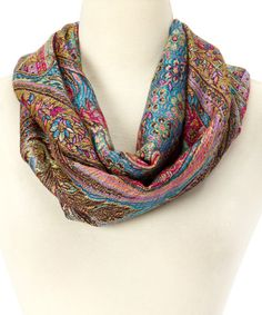 This Pink & Blue Feather Pashmina Wool-Silk Blend Infinity Scarf is perfect! #zulilyfinds