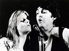 Paul McCartney and Linda Eastman-McCartney (of Wings on tour in 1973)
