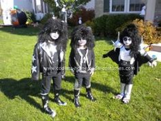 Coolest Homemade KISS Group Costume - #Coolest #costume #group #homemade #KISS Kiss Group, Gene Simmons, Homemade Costumes, Group Costumes, Halloween Costumes, Poster, Punk, Resale Store, Boys