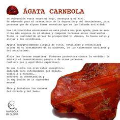Aprendemos sobre el ágata carneola.  Copyright: maribolabygloria.com Healing Stones, Crystal Healing, Wicca, Minerals And Gemstones, Stones And Crystals, Reiki, Chakras, Zen, Quartz