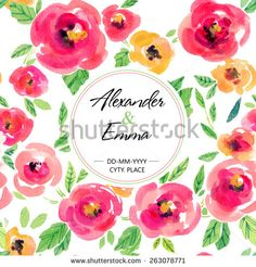 Vector watercolor illustration for wedding and other holiday. Seamless texture with floral design elements  on the white background. Pink, yellow peonies