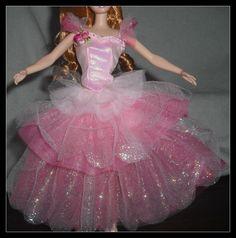 DRESS BARBIE DOLL NUTCRACKER PINK LAYERED TULLE BALLET BALLERINA COSTUME CLOTHES