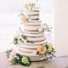semi naked wedding cake with florals #weddingcake #cake #wedding
