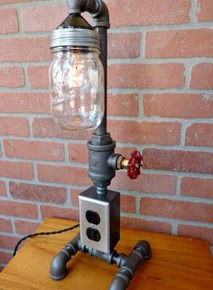 FAUCET HANDLE DIMMER Pipe lamp with mason jar water faucet