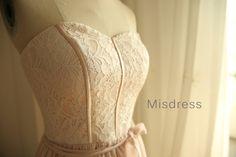 Vintage Inspired Blush Pink Lace Chiffon Bridesmaid Dress/Prom Dress Knee Length Short Dress on Etsy, $102.26 CAD