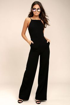 cf6f5c57fbe6 The night is yours in the Something to Behold Black Jumpsuit! Sleek