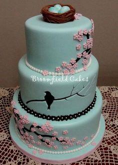blue cake: bird, nest, blossoms