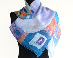 Handpainted neck scarf in green and violet colors with decorative abstract design. Square scarf appropriate for official occasions and for everyday use. Original addition to formal suit or elegant dress.  Painted on 100 % soft natural silk. Entirely handmade with hand rolled edges.  Sizes: 25.6 in / 25.6 in ( 65 cm / 65 cm ) 35.4 in / 35.4 in ( 90 cm / 90 cm ) 47 in / 47 in ( 120 cm / 120 cm )  The scarf is made to order, I need 3-5 days to make your scarf.  All scarves are painted by hand…