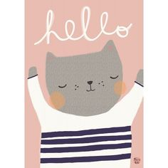 A cute cat perfect for a nursery decoration or a kidsroom. Makes a nice set with poster bear hello.The cat is illustrated by Aless Baylis. Composition: 170 gra